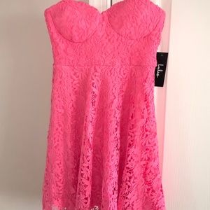 Hot Pink Lace Dress - Lulu's